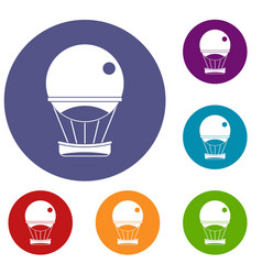 Aerostat balloon icons set vector