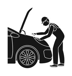 Auto mechanic and adjustment single icon in black vector