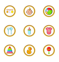 Baby toys icon set cartoon style vector