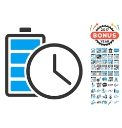Battery Time Icon With 2017 Year Bonus Pictograms vector image
