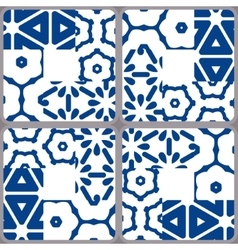 Blue and white ceramic tiles Patchwork style vector image