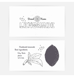 Business cards with hand drawn lemonade branding vector