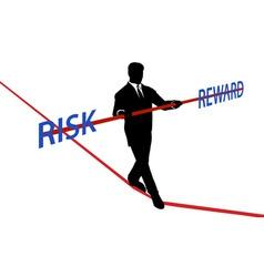 Business man tightrope balance risk reward vector