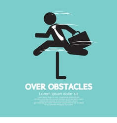 Businessman jump over the obstacles symbol vector
