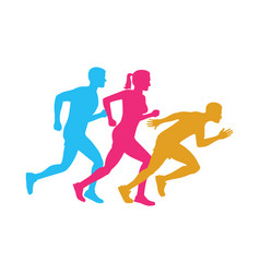 Colorful silhouettes of running men and woman vector
