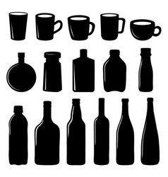 Cup and bottle icon black design vector