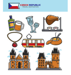 czech travel tourism landmarks and culture famous vector image