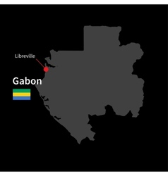 Detailed map of Gabon and capital city Libreville vector image vector image