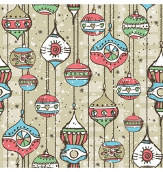 Grunge background with christmas balls vector image
