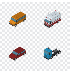 Isometric car set of truck car first-aid and vector