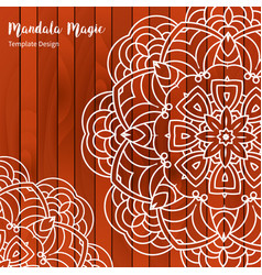 Mandala flower on wooden background vector