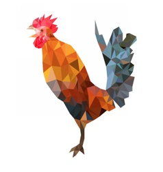 Polygonal image of colorful rooster vector