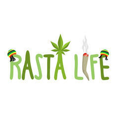 Rasta life typography hemp rastafarian cap and vector