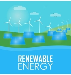 Renewable energy Wind and sun generation vector image vector image