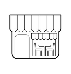 Restaurant exterior window door chair table vector
