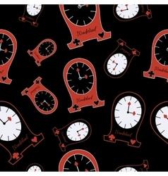 Seamless alice clocks from wonderland vector