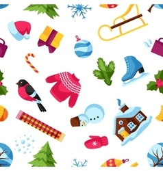 Seamless pattern with winter objects Merry vector image vector image