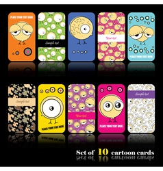 Set of ten cartoon cards vector image vector image