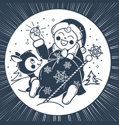 silhouette of baby santa claus vector image