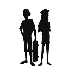 Silhouette teens boy girl skate and cap vector