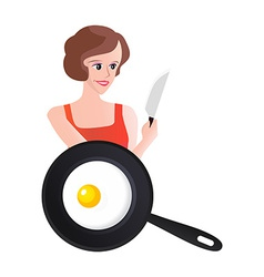 Smiling woman with knife end scrambled eggs vector
