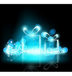 sparkling Christmas presents on a black background vector image vector image