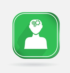 square icon man thinks the gears in head vector image vector image