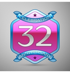 Thirty two years anniversary celebration silver vector