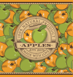 Vintage apple label on seamless pattern vector