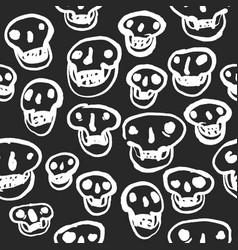 white on black skulls pattern vector image