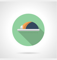 Workshop hard hat flat round icon vector