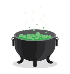 Cauldron of boiling green liquid vector