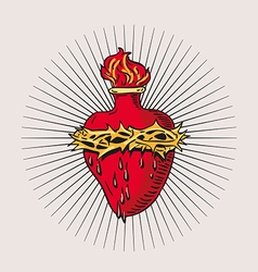 Heart of blessed virgin mary tattoo vector