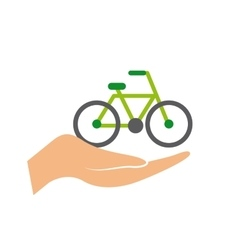 Hand with bicycle icon vector