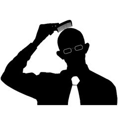 Bald man comb silhouette vector