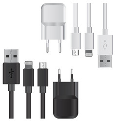 set of usb contact and charge vector image
