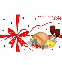 New year gift card with christmas dinner vector