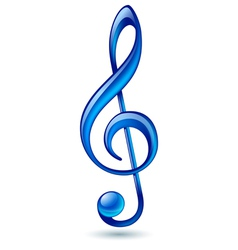 Blue treble clef vector