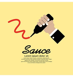 Hand squeezing a sauce bottle vector