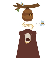 Bear and beehive vector