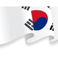 Background with waving south korea flag vector