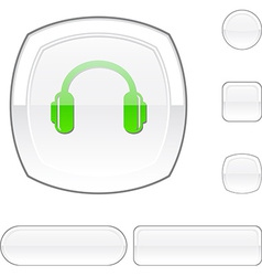 Headphones white button vector