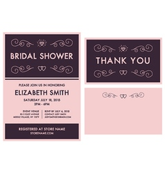 Bridal shower invitation and thank you card vector