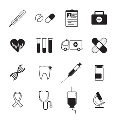 Medicine icons set black vector