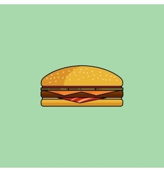 Cheeseburger with bacon in minimalist style vector