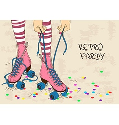 With female legs in retro roller skates vector