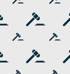 Judge hammer icon seamless pattern with geometric vector
