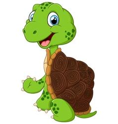 cute green waving turtle vector image