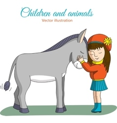Girl and donkey vector
