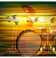 Abstract green blur music background with drum kit vector